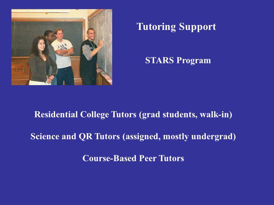 Tutoring Support STARS Program Residential College Tutors (grad students, walk-in) Science and QR Tutors (assigned, mostly undergrad) Course-Based Peer Tutors