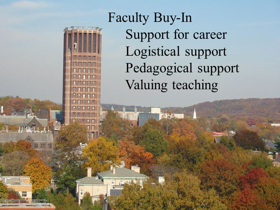 Faculty Buy-In Support for career Logistical support Pedagogical support Valuing teaching