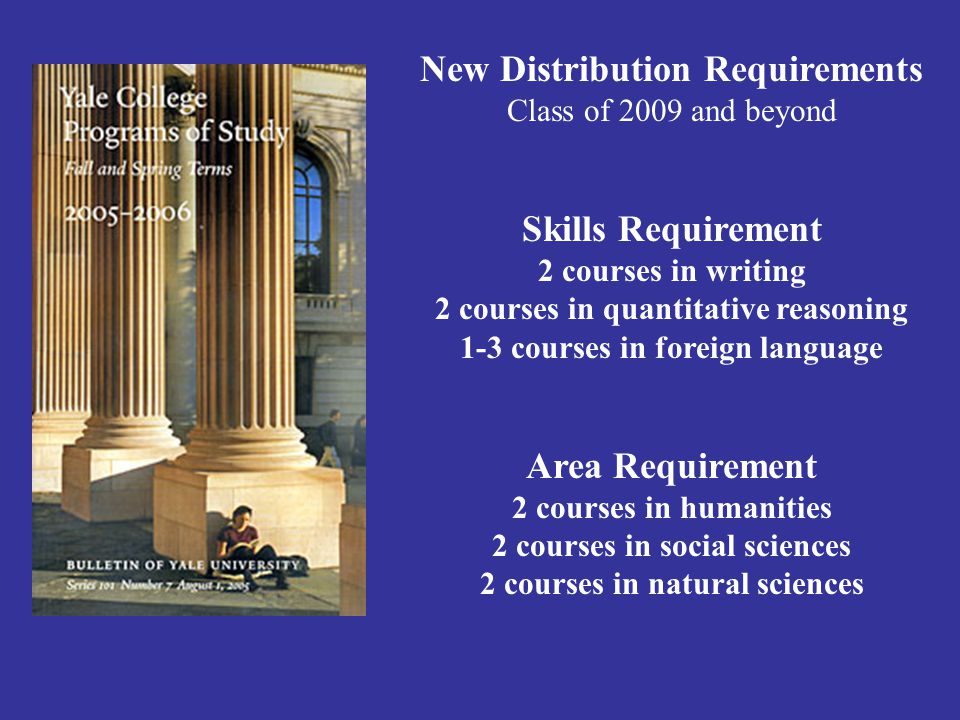 New Distribution Requirements Class of 2009 and beyond Skills Requirement 2 courses in writing 2 courses in quantitative reasoning 1-3 courses in foreign language Area Requirement 2 courses in humanities 2 courses in social sciences 2 courses in natural sciences