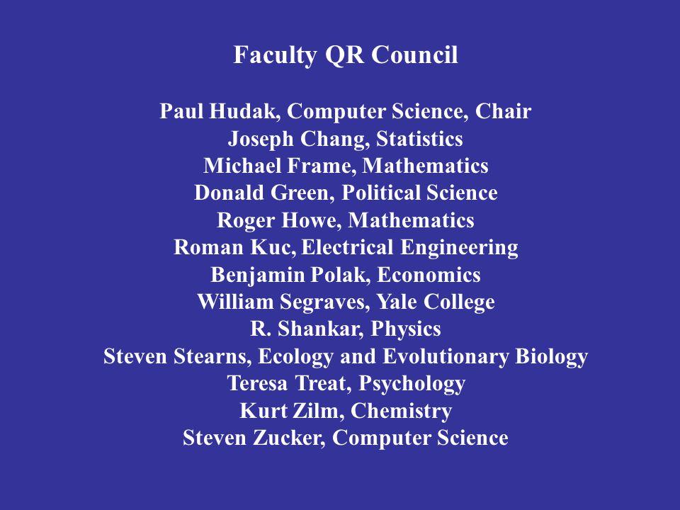 Faculty QR Council Paul Hudak, Computer Science, Chair Joseph Chang, Statistics Michael Frame, Mathematics Donald Green, Political Science Roger Howe,
