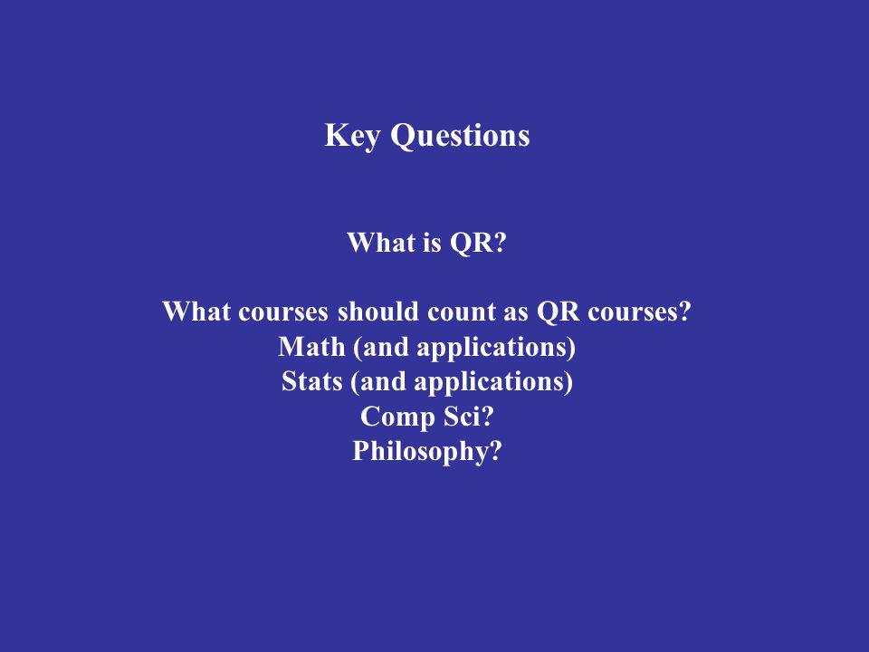 Key Questions What is QR. What courses should count as QR courses.