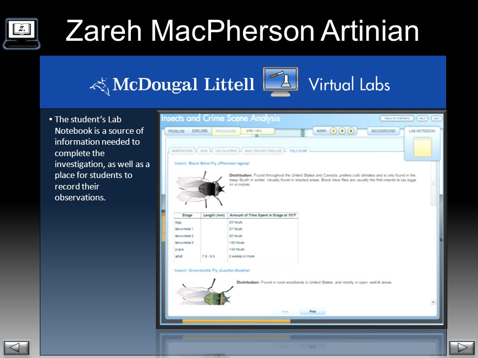 . Zareh MacPherson Artinian  The student's Lab Notebook is a source of information needed to complete the investigation, as well as a place for students to record their observations.