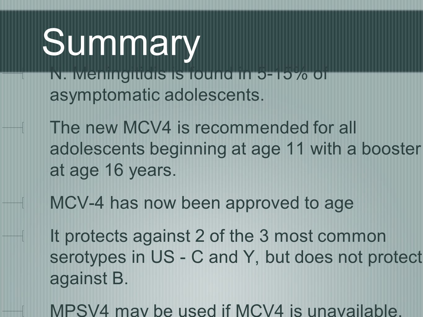 Summary N. Meningitidis is found in 5-15% of asymptomatic adolescents.