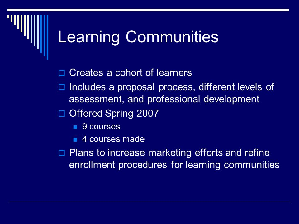 Learning Communities  Creates a cohort of learners  Includes a proposal process, different levels of assessment, and professional development  Offered Spring courses 4 courses made  Plans to increase marketing efforts and refine enrollment procedures for learning communities