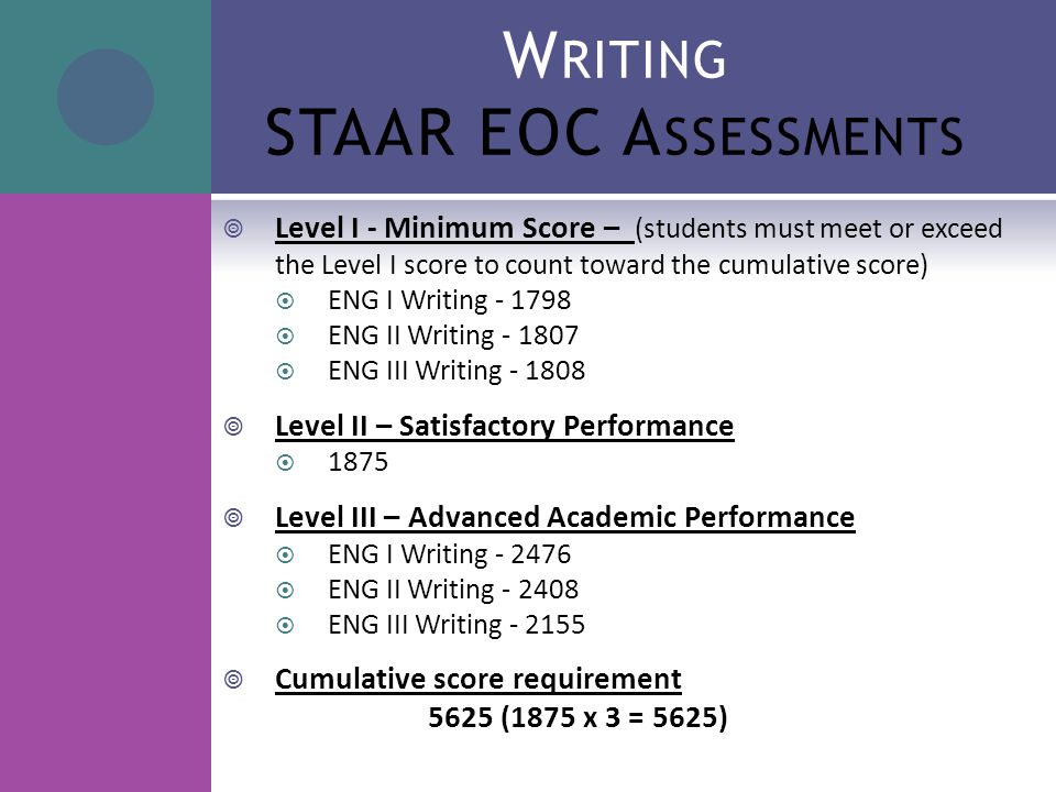 W RITING STAAR EOC A SSESSMENTS  Level I - Minimum Score – (students must meet or exceed the Level I score to count toward the cumulative score)  ENG I Writing - 1798  ENG II Writing - 1807  ENG III Writing - 1808  Level II – Satisfactory Performance  1875  Level III – Advanced Academic Performance  ENG I Writing - 2476  ENG II Writing - 2408  ENG III Writing - 2155  Cumulative score requirement 5625 (1875 x 3 = 5625)