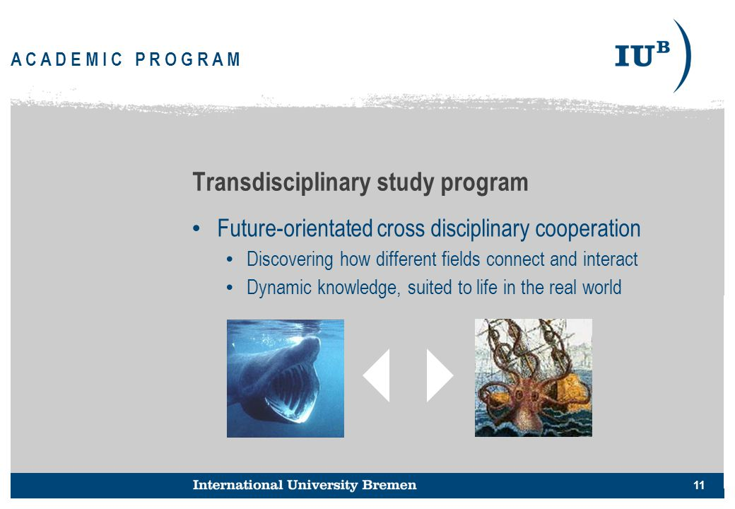 11 A C A D E M I C P R O G R A M Transdisciplinary study program Future-orientated cross disciplinary cooperation Discovering how different fields con