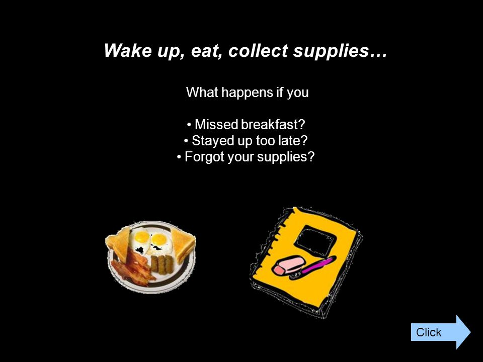 Wake up, eat, collect supplies… What happens if you Missed breakfast.
