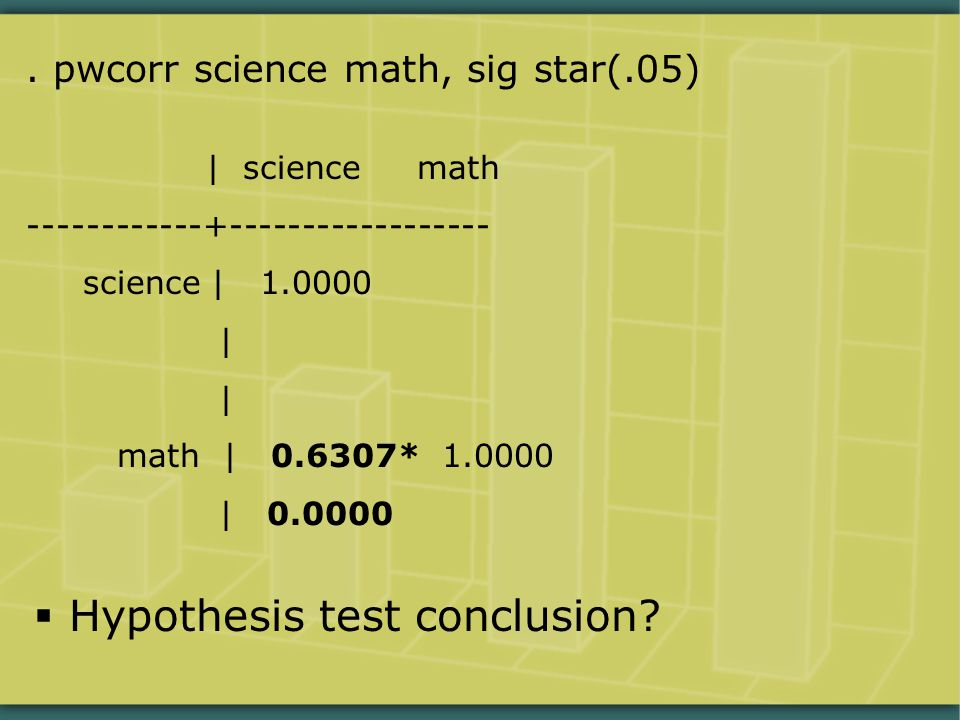 . pwcorr science math, sig star(.05) | science math ------------+------------------ science | 1.0000 | math | 0.6307* 1.0000 | 0.0000  Hypothesis test conclusion?