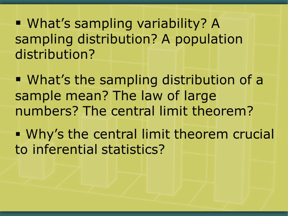  What's sampling variability.A sampling distribution.