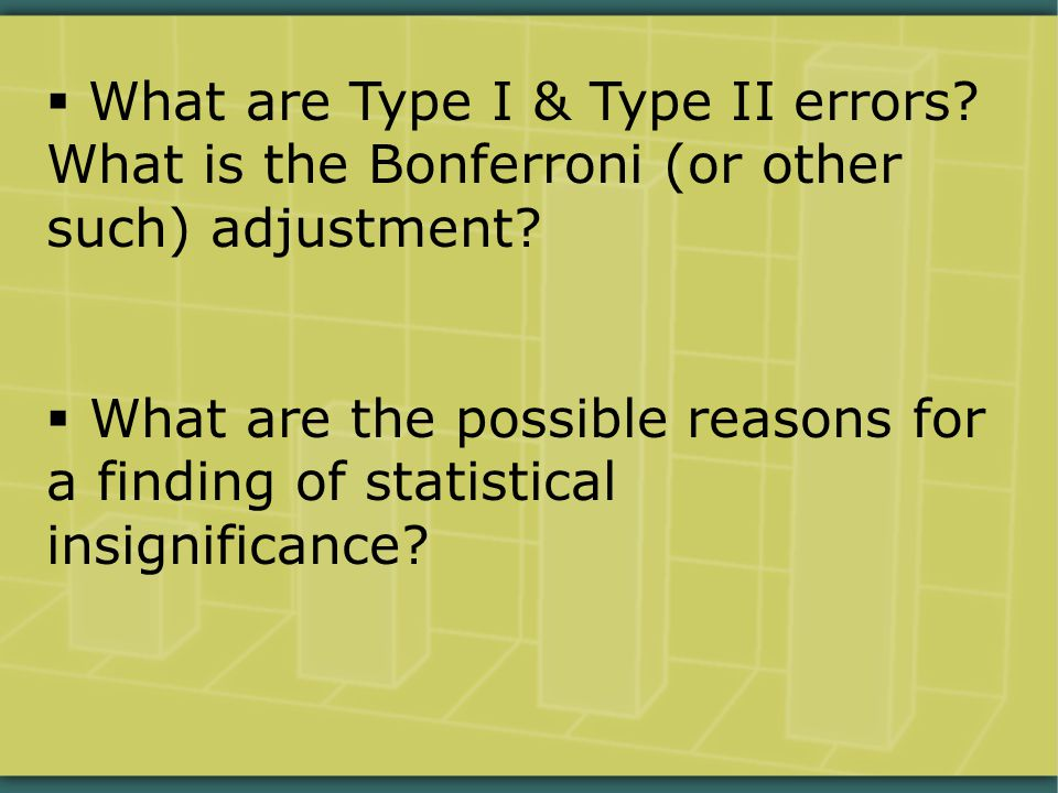  What are Type I & Type II errors.What is the Bonferroni (or other such) adjustment.