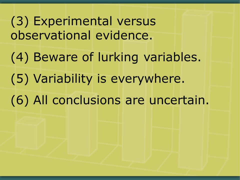 (3) Experimental versus observational evidence. (4) Beware of lurking variables. (5) Variability is everywhere. (6) All conclusions are uncertain.