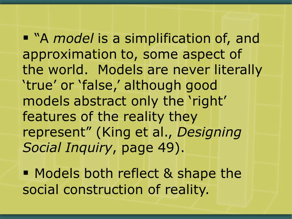  A model is a simplification of, and approximation to, some aspect of the world.