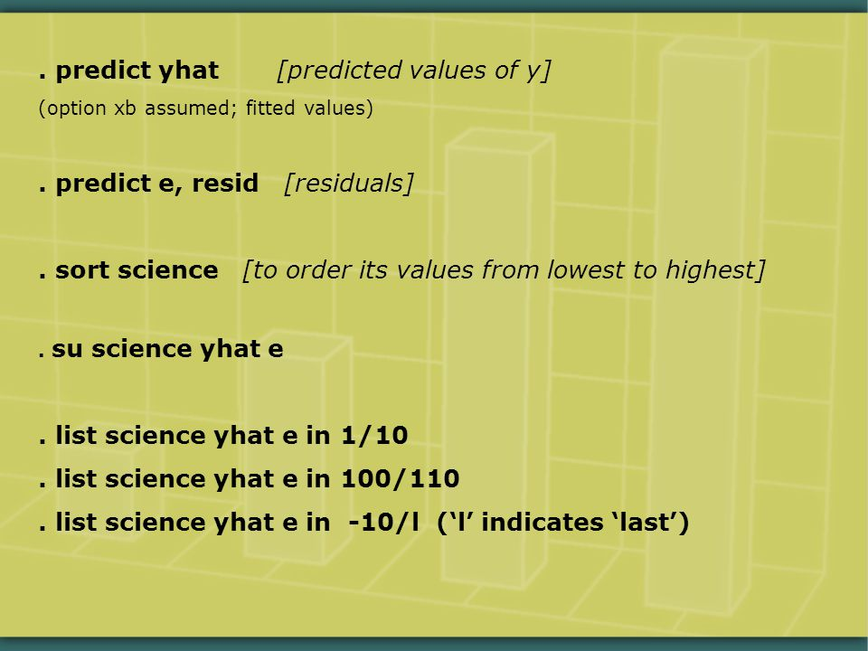 predict yhat [predicted values of y] (option xb assumed; fitted values).