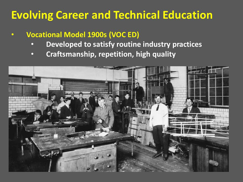 Vocational Model 1900s (VOC ED) Developed to satisfy routine industry practices Craftsmanship, repetition, high quality Evolving Career and Technical