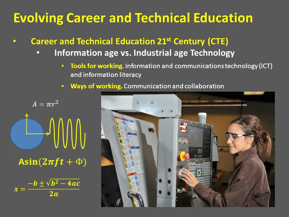 Career and Technical Education 21 st Century (CTE) Information age vs. Industrial age Technology Tools for working. Information and communications tec