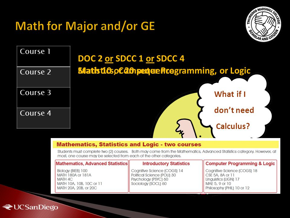 Statistics, Computer Programming, or LogicMath 10 or 20 sequence What if I don't need Calculus? DOC 2 or SDCC 1 or SDCC 4 Course 1 Course 2 Course 3 C