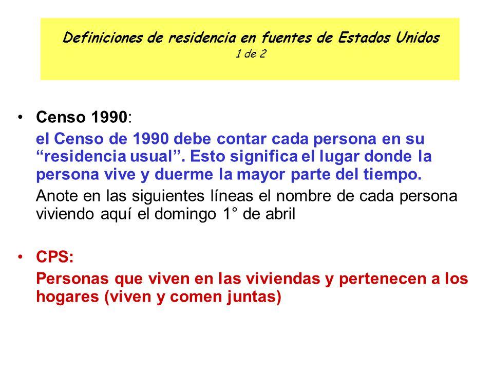 Definiciones de residencia en fuentes de Estados Unidos 1 de 2 Censo 1990: el Censo de 1990 debe contar cada persona en su residencia usual .