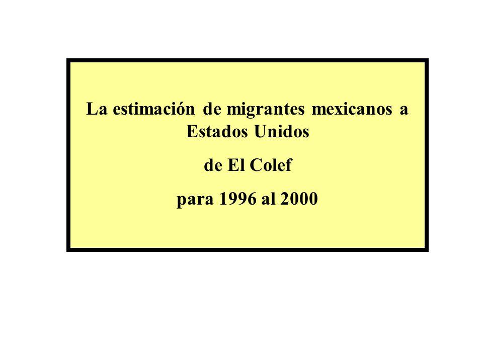 La estimación de migrantes mexicanos a Estados Unidos de El Colef para 1996 al 2000