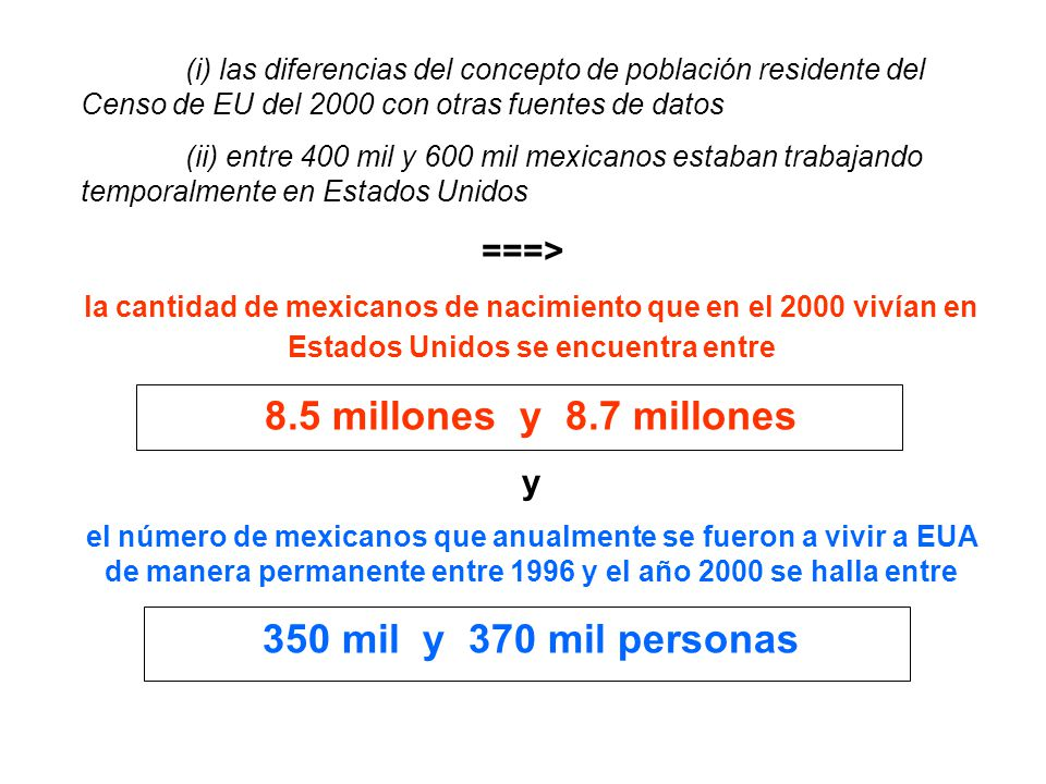 (i) las diferencias del concepto de población residente del Censo de EU del 2000 con otras fuentes de datos (ii) entre 400 mil y 600 mil mexicanos estaban trabajando temporalmente en Estados Unidos ===> la cantidad de mexicanos de nacimiento que en el 2000 vivían en Estados Unidos se encuentra entre 8.5 millones y 8.7 millones y el número de mexicanos que anualmente se fueron a vivir a EUA de manera permanente entre 1996 y el año 2000 se halla entre 350 mil y 370 mil personas