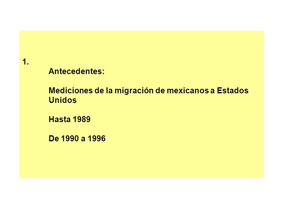 1. Antecedentes: Mediciones de la migración de mexicanos a Estados Unidos Hasta 1989 De 1990 a 1996