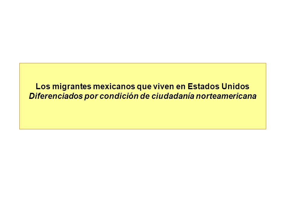 Los migrantes mexicanos que viven en Estados Unidos Diferenciados por condición de ciudadanía norteamericana