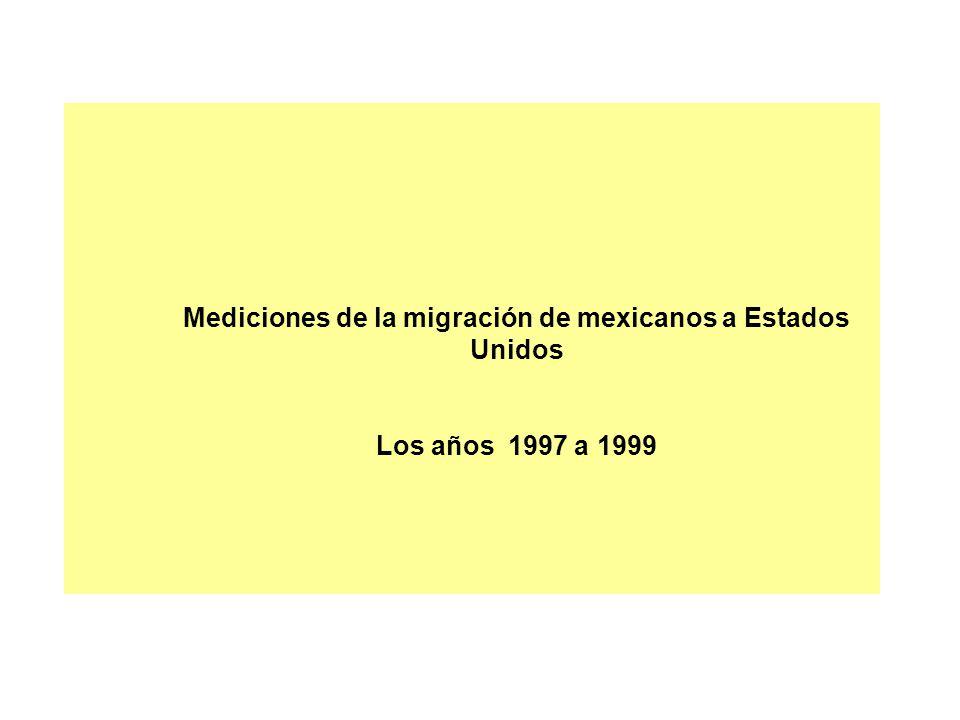 Mediciones de la migración de mexicanos a Estados Unidos Los años 1997 a 1999