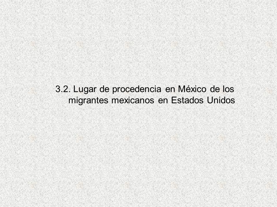3.2. Lugar de procedencia en México de los migrantes mexicanos en Estados Unidos