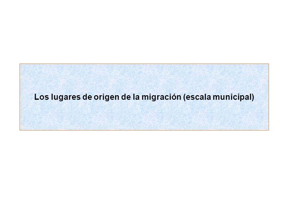 Los lugares de origen de la migración (escala municipal)