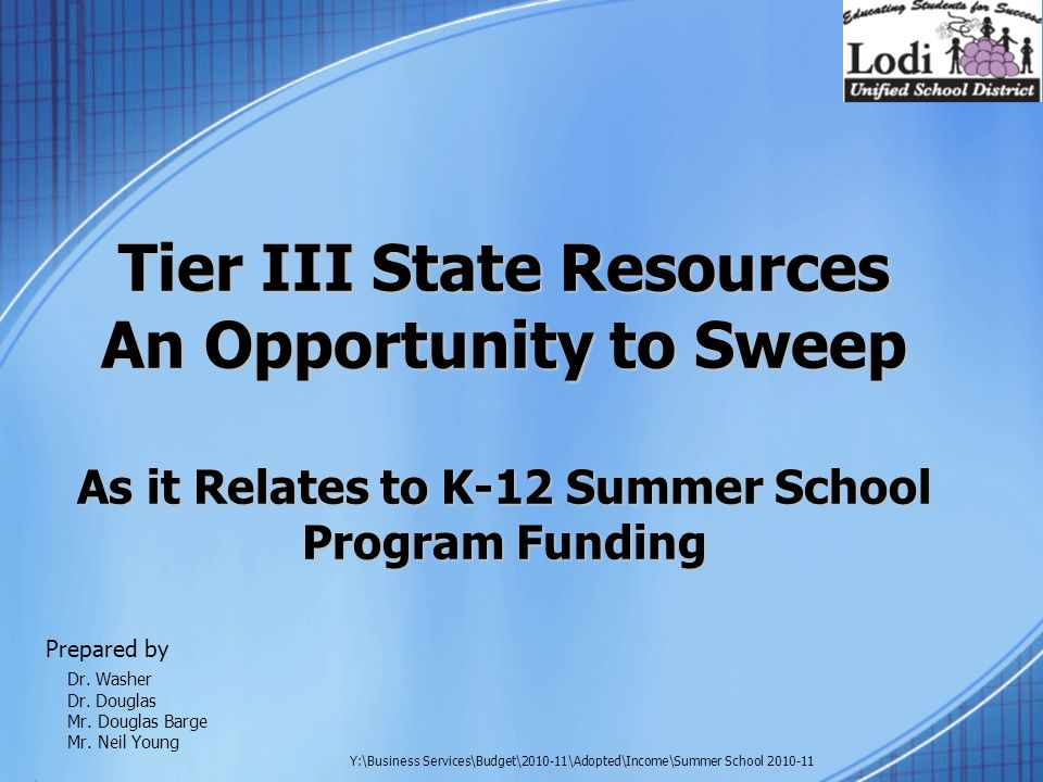 Tier III State Resources An Opportunity to Sweep As it Relates to K-12 Summer School Program Funding Prepared by Dr.