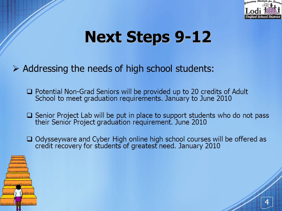Next Steps 9-12  Addressing the needs of high school students:  Potential Non-Grad Seniors will be provided up to 20 credits of Adult School to meet graduation requirements.