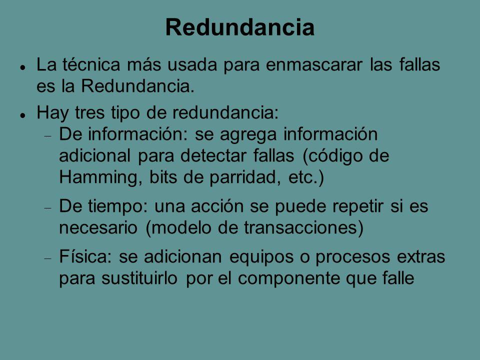 Redundancia La técnica más usada para enmascarar las fallas es la Redundancia.