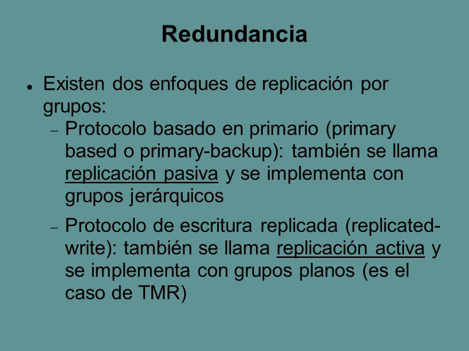 Redundancia Existen dos enfoques de replicación por grupos:  Protocolo basado en primario (primary based o primary-backup): también se llama replicación pasiva y se implementa con grupos jerárquicos  Protocolo de escritura replicada (replicated- write): también se llama replicación activa y se implementa con grupos planos (es el caso de TMR)
