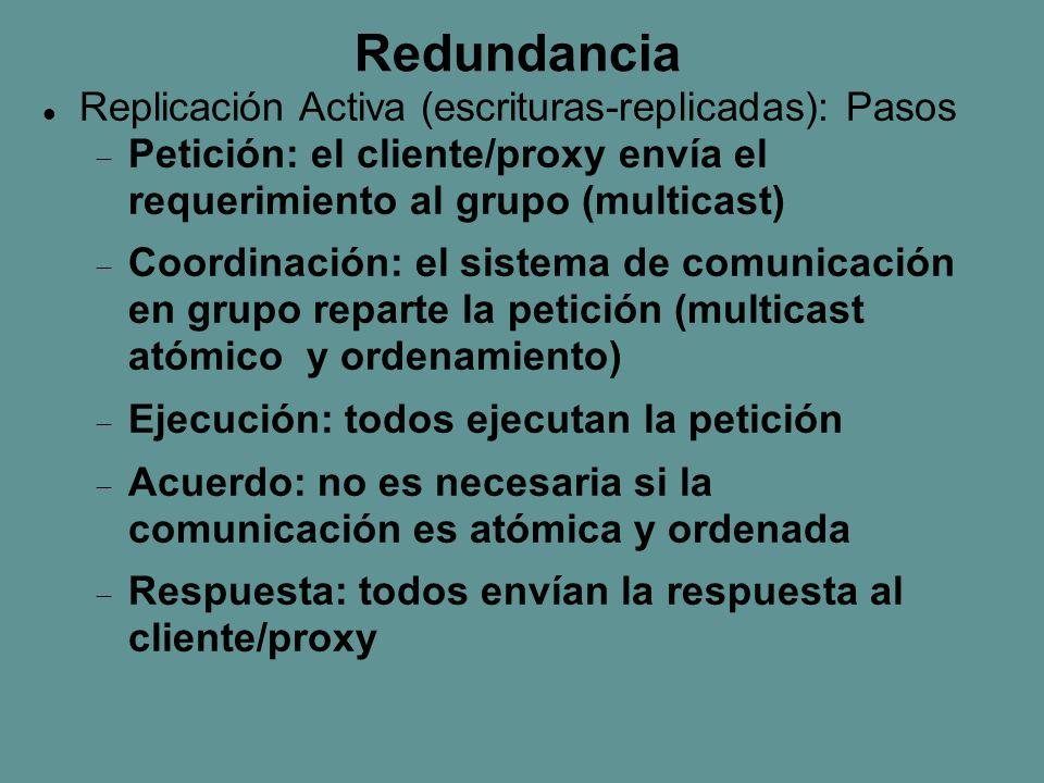Redundancia Replicación Activa (escrituras-replicadas): Pasos  Petición: el cliente/proxy envía el requerimiento al grupo (multicast)  Coordinación: el sistema de comunicación en grupo reparte la petición (multicast atómico y ordenamiento)  Ejecución: todos ejecutan la petición  Acuerdo: no es necesaria si la comunicación es atómica y ordenada  Respuesta: todos envían la respuesta al cliente/proxy
