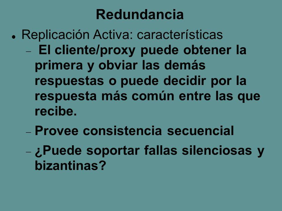 Redundancia Replicación Activa: características  El cliente/proxy puede obtener la primera y obviar las demás respuestas o puede decidir por la respuesta más común entre las que recibe.