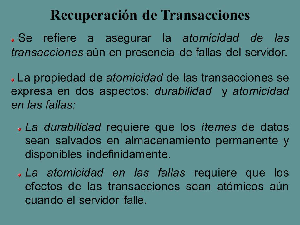 Recuperación de Transacciones Se refiere a asegurar la atomicidad de las transacciones aún en presencia de fallas del servidor.