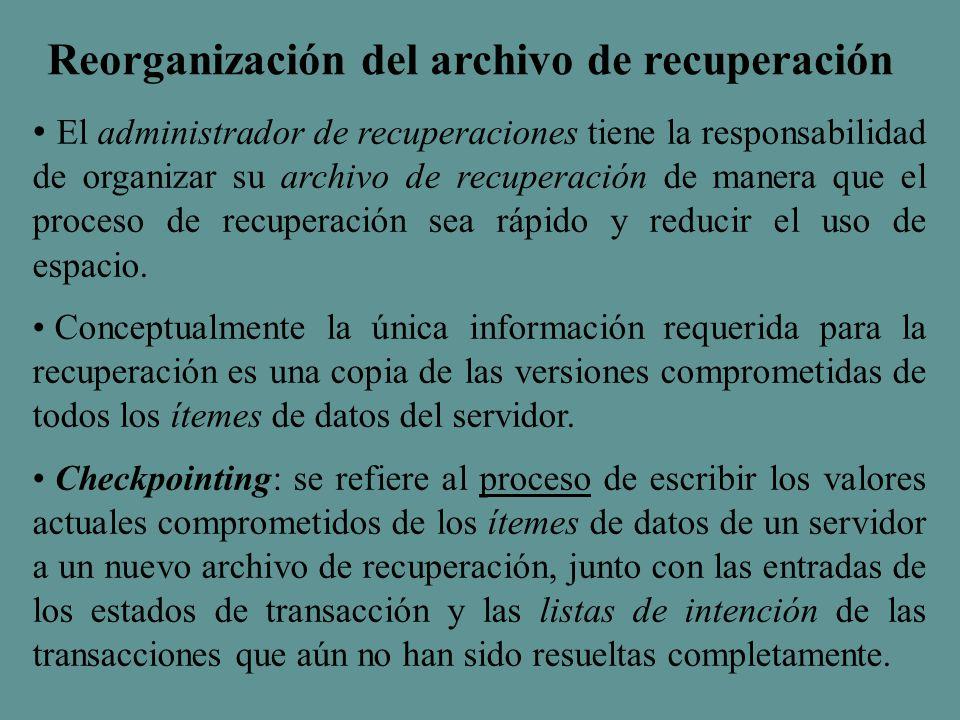El administrador de recuperaciones tiene la responsabilidad de organizar su archivo de recuperación de manera que el proceso de recuperación sea rápido y reducir el uso de espacio.
