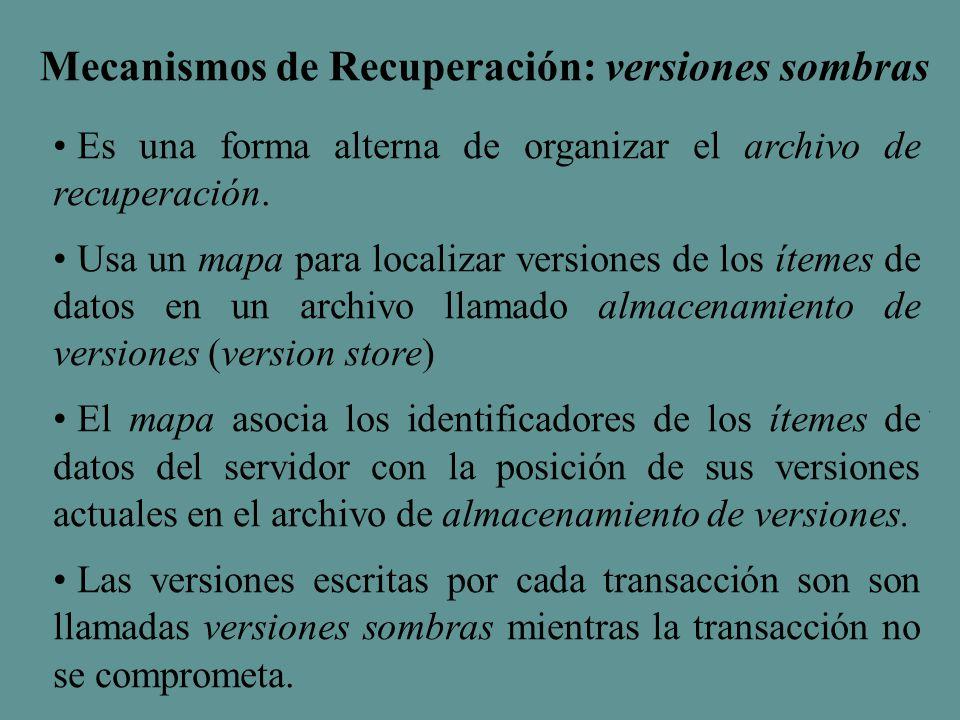 Mecanismos de Recuperación: versiones sombras Es una forma alterna de organizar el archivo de recuperación.