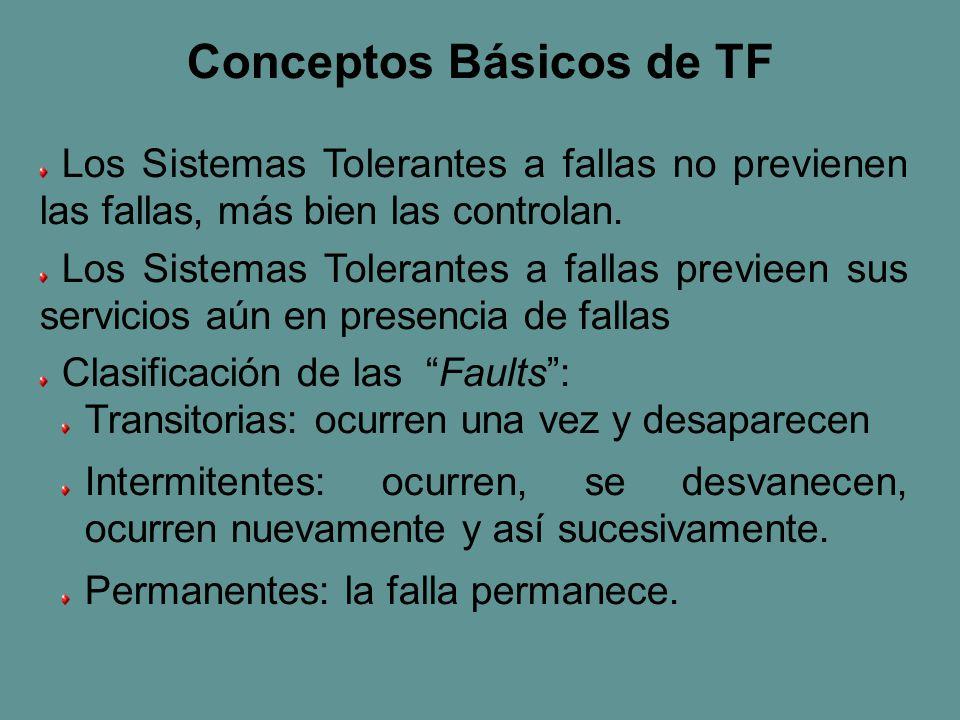 Los Sistemas Tolerantes a fallas no previenen las fallas, más bien las controlan.