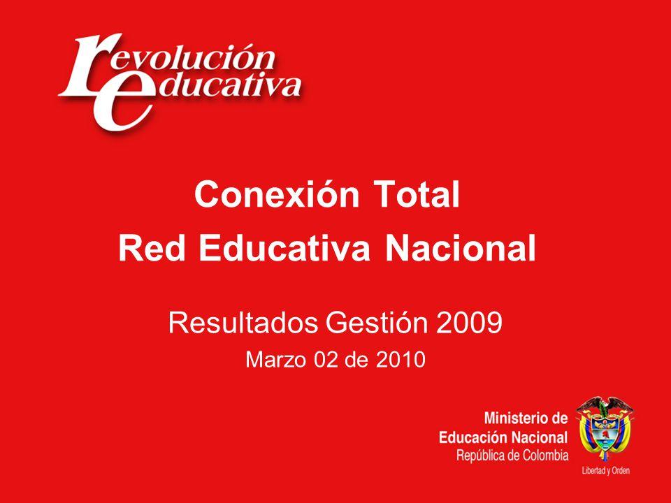 Conexión Total Red Educativa Nacional Resultados Gestión 2009 Marzo 02 de 2010