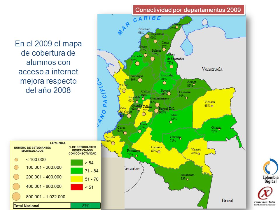 Conectividad por departamentos 2009 En el 2009 el mapa de cobertura de alumnos con acceso a internet mejora respecto del año 2008