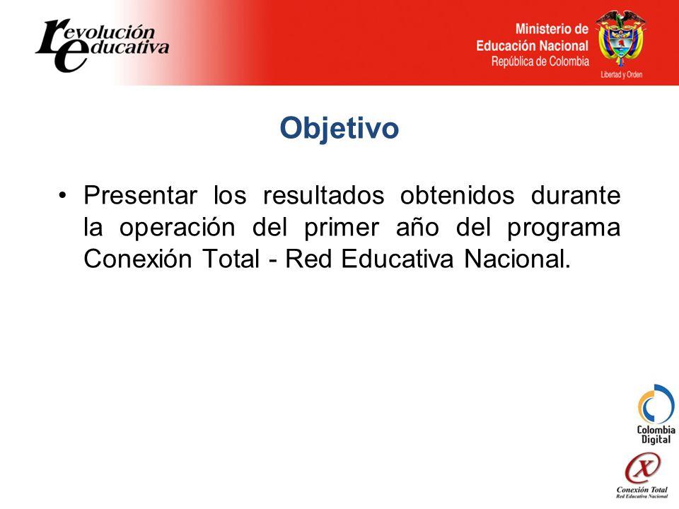 Objetivo Presentar los resultados obtenidos durante la operación del primer año del programa Conexión Total - Red Educativa Nacional.