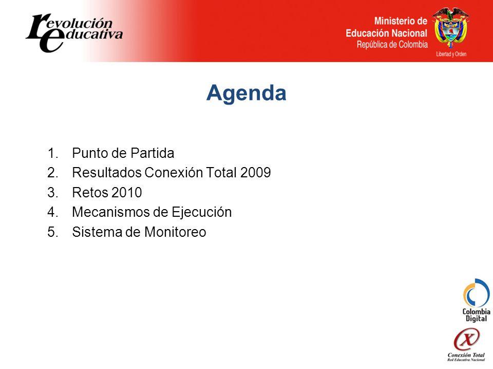 Agenda 1.Punto de Partida 2.Resultados Conexión Total 2009 3.Retos 2010 4.Mecanismos de Ejecución 5.Sistema de Monitoreo