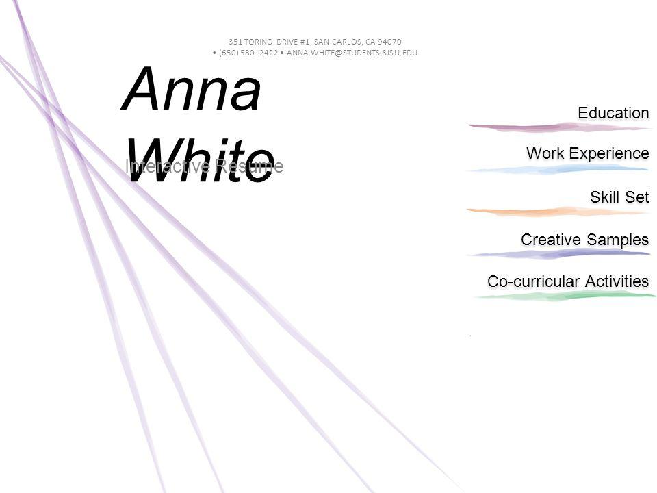 Work Experience Education Skill Set Creative Samples Co-curricular ...