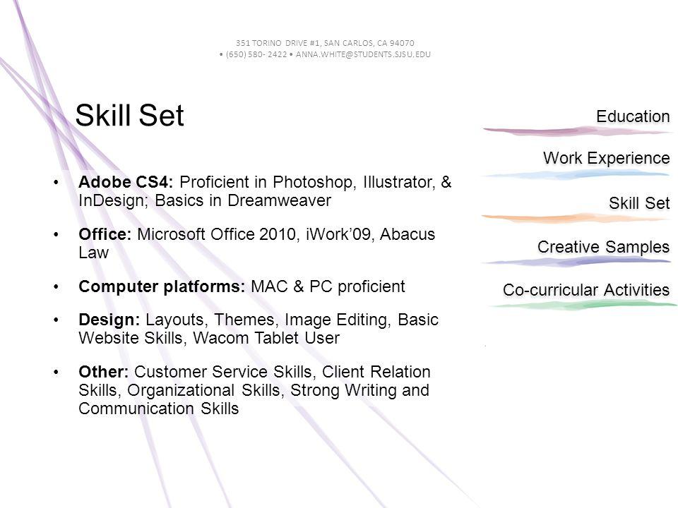 Work Experience Education Skill Set Creative Samples Co-curricular Activities 351 TORINO DRIVE #1, SAN CARLOS, CA 94070 (650) 580- 2422 ANNA.WHITE@STU