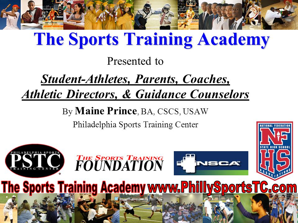 Sports Training Academy Overview Student-Athlete enrichment program 24/7 life coaching and mentor support Learn the College Recruiting Process Prepare for life before, during, after college Academic & Athletic training program Weekly themes based on popular college majors