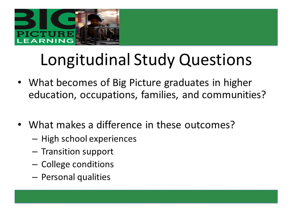 Longitudinal Study Questions What becomes of Big Picture graduates in higher education, occupations, families, and communities.