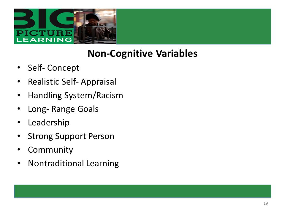 19 Non-Cognitive Variables Self- Concept Realistic Self- Appraisal Handling System/Racism Long- Range Goals Leadership Strong Support Person Community Nontraditional Learning