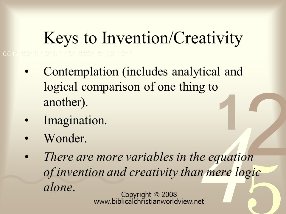 Keys to Invention/Creativity Contemplation (includes analytical and logical comparison of one thing to another).