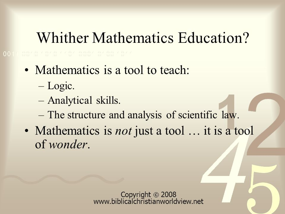 Questions What perspectives should undergird mathematics curricula.