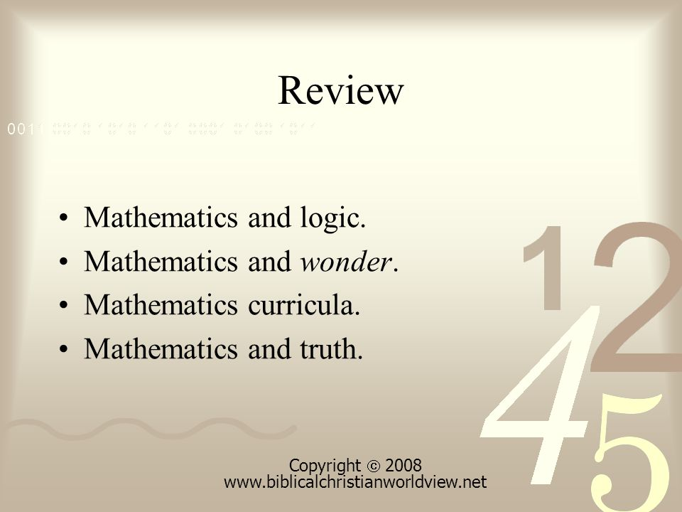 Review Mathematics and logic. Mathematics and wonder.